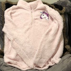 Fluffy pale pink pullover